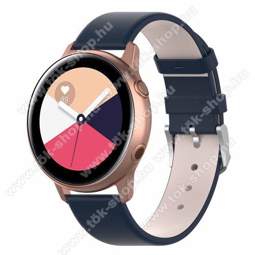 Okosóra szíj - KÉK - műbőr - 118.5mm + 88.55mm hosszú, 20mm széles - SAMSUNG SM-R500 Galaxy Watch Active / SAMSUNG Galaxy Watch Active2 40mm / SAMSUNG Galaxy Watch Active2 44mm