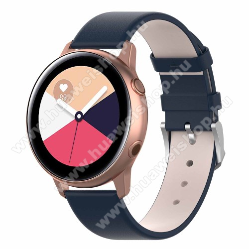 HUAWEI Watch GT 2 42mm Okosóra szíj - KÉK - műbőr - 118.5mm + 88.55mm hosszú, 20mm széles - SAMSUNG Galaxy Watch 42mm / Xiaomi Amazfit GTS / HUAWEI Watch GT / SAMSUNG Gear S2 / HUAWEI Watch GT 2 42mm / Galaxy Watch Active / Active  2 / Galaxy Gear Sport