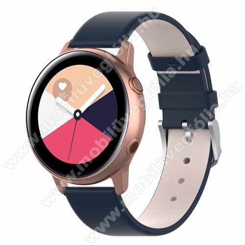 HUAWEI MagicWatch 2 42mm Okosóra szíj - KÉK - műbőr - 118.5mm + 88.55mm hosszú, 20mm széles - SAMSUNG Galaxy Watch 42mm / Xiaomi Amazfit GTS / HUAWEI Watch GT / SAMSUNG Gear S2 / HUAWEI Watch GT 2 42mm / Galaxy Watch Active / Active  2 / Galaxy Gear Sport