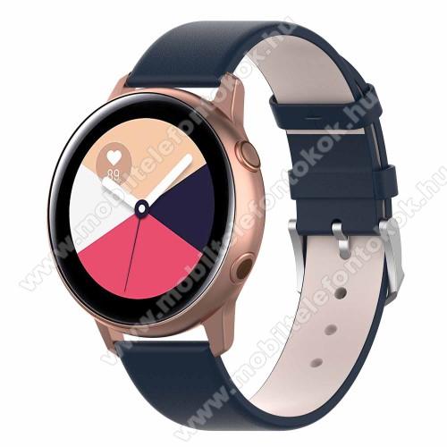Okosóra szíj - KÉK - műbőr - 118.5mm + 88.55mm hosszú, 20mm széles - SAMSUNG SM-R500 Galaxy Watch Active