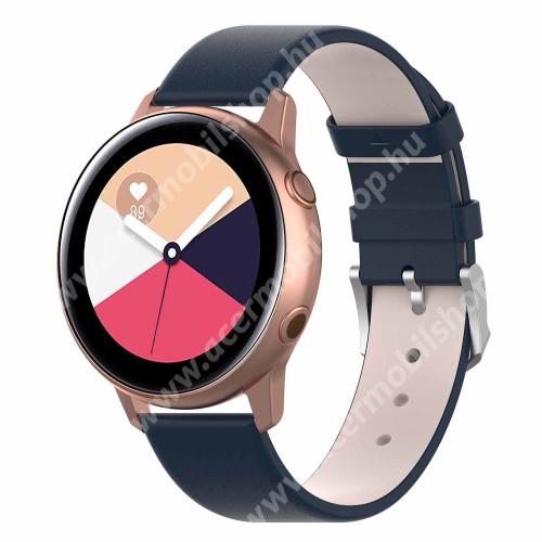 Okosóra szíj - KÉK - műbőr - 118.5mm + 88.55mm hosszú, 20mm széles - SAMSUNG SM-R500 Galaxy Watch Active / SAMSUNG Galaxy Watch Active2 40mm / SAMSUNG Galaxy Watch Active2 44mm