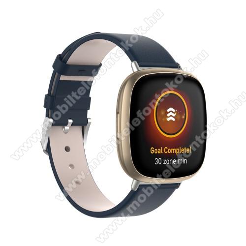 Fitbit Versa 3Okosóra szíj - KÉK - PU bőr, 93+135mm hosszú, 140-180mm-es méretű csuklóig ajánlott - Fitbit Versa 3 / Fitbit Sense