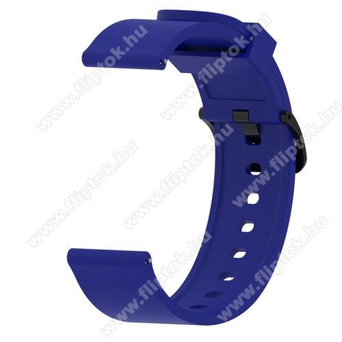 EVOLVEO SPORTWATCH M1SOkosóra szíj - KÉK - szilikon - 112mm + 85mm hosszú, 20mm széles - SAMSUNG Galaxy Watch 42mm / Xiaomi Amazfit GTS / SAMSUNG Gear S2 / HUAWEI Watch GT 2 42mm / Galaxy Watch Active / Active 2