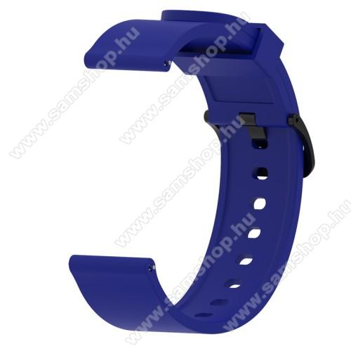 SAMSUNG Galaxy Watch 42mm (SM-R810NZ)Okosóra szíj - KÉK - szilikon - 112mm + 85mm hosszú, 20mm széles - SAMSUNG Galaxy Watch 42mm / Xiaomi Amazfit GTS / SAMSUNG Gear S2 / HUAWEI Watch GT 2 42mm / Galaxy Watch Active / Active 2