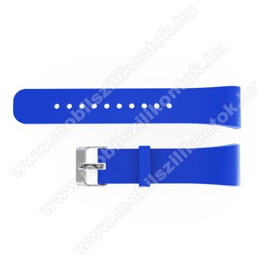 Okosóra szíj - KÉK - szilikon, 20cm hosszú és 2cm széles - SAMSUNG Gear Fit 2 SM-R360 / Samsung Gear Fit 2 Pro SM-R365 - 128.29mm + 72.07mm hosszú