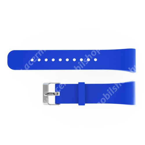 Okosóra szíj - KÉK - szilikon, 20cm hosszú és 2cm széles - SAMSUNG Gear Fit 2 SM-R360 / Samsung Gear Fit 2 Pro SM-R365 - 117mm + 75mm hosszú