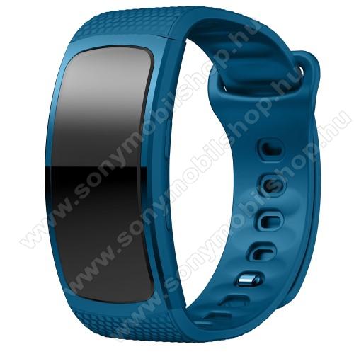 Okosóra szíj - KÉK - szilikon, L-es méret, 90mm+123mm hosszú, 150mm-től 213mm-es méretű csuklóig ajánlott - SAMSUNG Gear Fit 2 SM-R360 / Samsung Gear Fit 2 Pro SM-R365