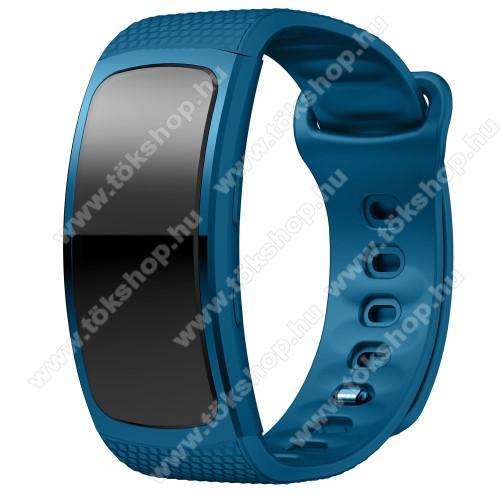 Okosóra szíj - KÉK - szilikon, S-es méret, 95mm+90mm hosszú, 126mm-től 175mm-es méretű csuklóig ajánlott - SAMSUNG Gear Fit 2 SM-R360 / Samsung Gear Fit 2 Pro SM-R365