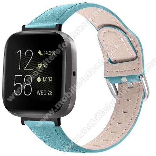 Fitbit Versa 3Okosóra szíj - KÉK - valódi bőr - 75mm + 115mm hosszú, 22.5mm széles, 144-200mm-es átmérőjű csuklóméretig ajánlott - Fitbit Versa 3 / Fitbit Sense