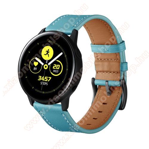 Xiaomi Amazfit GTR 42mmOkosóra szíj - KÉK - valódi bőr - 80mm + 120mm hosszú, 20mm széles - SAMSUNG Galaxy Watch 42mm / Xiaomi Amazfit GTS / HUAWEI Watch GT / SAMSUNG Gear S2 / HUAWEI Watch GT 2 42mm / Galaxy Watch Active / Active 2