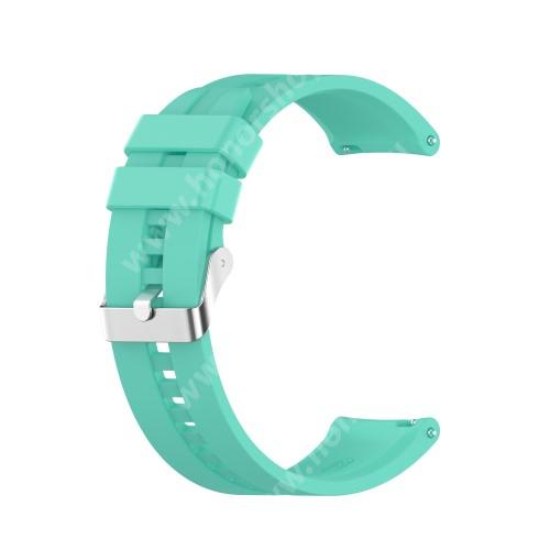 Okosóra szíj - környezetbarát szilikon - CYAN - 120mm+90mm hosszú, 22mm széles - SAMSUNG Galaxy Watch 46mm / Watch GT2 46mm / Watch GT 2e / Galaxy Watch3 45mm / Honor MagicWatch 2 46mm