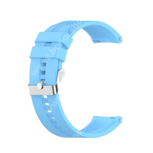Okosóra szíj - környezetbarát szilikon - ÉGSZÍNKÉK - 120mm+90mm hosszú, 22mm széles - SAMSUNG Galaxy Watch 46mm / Watch GT2 46mm / Watch GT 2e / Galaxy Watch3 45mm / Honor MagicWatch 2 46mm