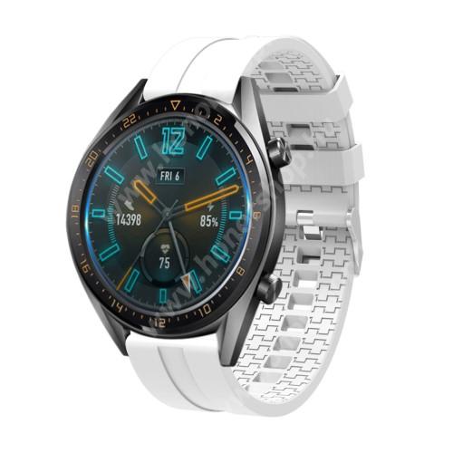 HUAWEI Watch GT 46mm Okosóra szíj - környezetbarát szilikon - FEHÉR - 120 + 90mm hosszú, 22mm széles - SAMSUNG Galaxy Watch 46mm / SAMSUNG Gear S3 Classic / SAMSUNG Gear S3 Frontier
