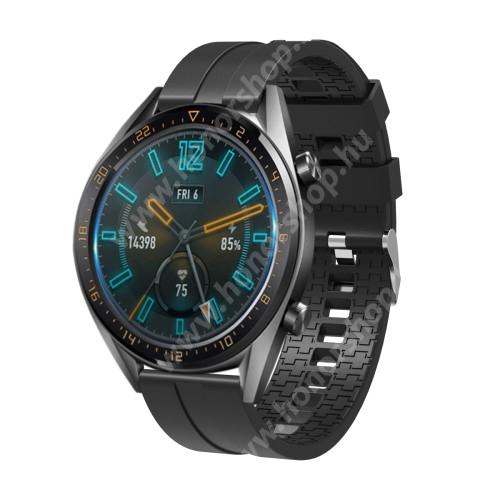 HUAWEI Honor MagicWatch 2 46mm Okosóra szíj - környezetbarát szilikon - FEKETE - 120 + 90mm hosszú, 22mm széles - SAMSUNG Galaxy Watch 46mm / SAMSUNG Gear S3 Classic / SAMSUNG Gear S3 Frontier