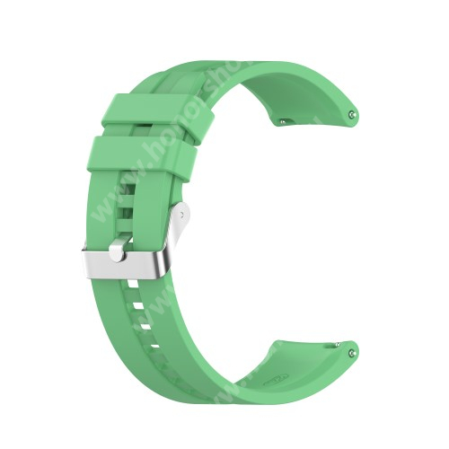 Okosóra szíj - környezetbarát szilikon - MENTAZÖLD - 120mm+90mm hosszú, 22mm széles - SAMSUNG Galaxy Watch 46mm / Watch GT2 46mm / Watch GT 2e / Galaxy Watch3 45mm / Honor MagicWatch 2 46mm