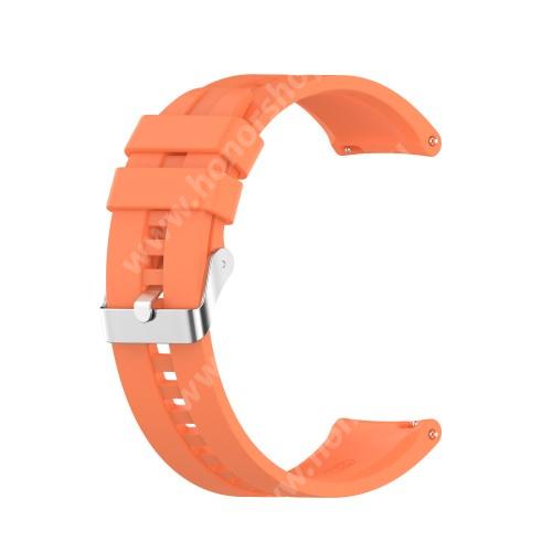 Okosóra szíj - környezetbarát szilikon - NARANCSSÁRGA - 120mm+90mm hosszú, 22mm széles - SAMSUNG Galaxy Watch 46mm / Watch GT2 46mm / Watch GT 2e / Galaxy Watch3 45mm / Honor MagicWatch 2 46mm