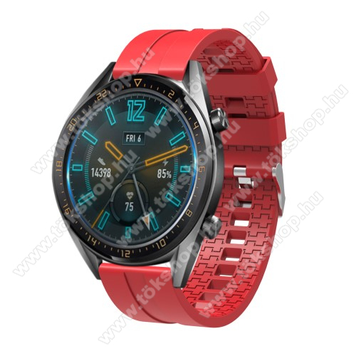 Xiaomi Watch ColorOkosóra szíj - környezetbarát szilikon - PIROS - 120 + 90mm hosszú, 22mm széles - SAMSUNG Galaxy Watch 46mm / SAMSUNG Gear S3 Classic / SAMSUNG Gear S3 Frontier