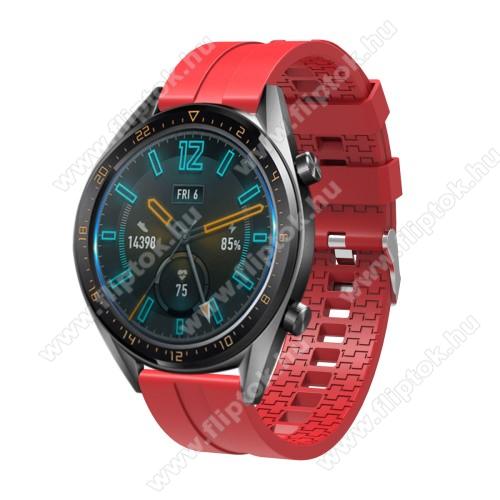 ZTE Watch GTOkosóra szíj - környezetbarát szilikon - PIROS - 120 + 90mm hosszú, 22mm széles - SAMSUNG Galaxy Watch 46mm / SAMSUNG Gear S3 Classic / SAMSUNG Gear S3 Frontier