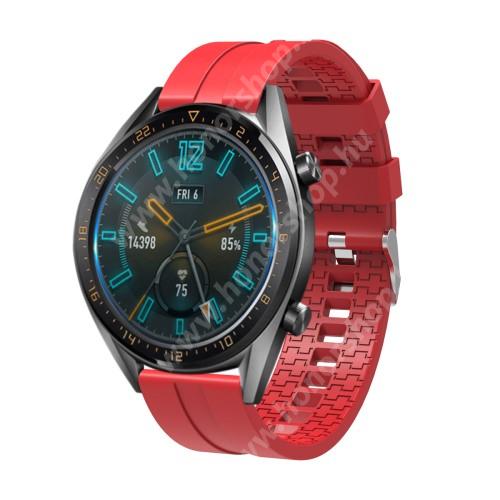 HUAWEI Watch GT 46mm Okosóra szíj - környezetbarát szilikon - PIROS - 120 + 90mm hosszú, 22mm széles - SAMSUNG Galaxy Watch 46mm / SAMSUNG Gear S3 Classic / SAMSUNG Gear S3 Frontier