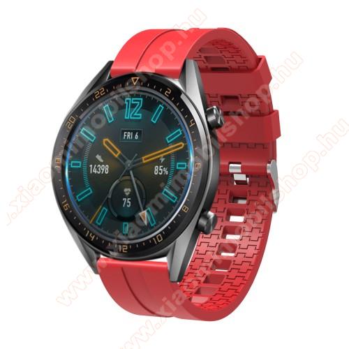 Okosóra szíj - környezetbarát szilikon - PIROS - 120 + 90mm hosszú, 22mm széles - SAMSUNG Galaxy Watch 46mm / SAMSUNG Gear S3 Classic / SAMSUNG Gear S3 Frontier