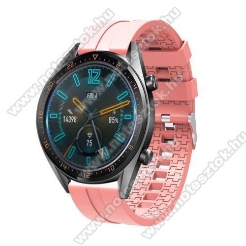 ZTE Watch GTOkosóra szíj - környezetbarát szilikon - RÓZSASZÍN - 120 + 90mm hosszú, 22mm széles - SAMSUNG Galaxy Watch 46mm / SAMSUNG Gear S3 Classic / SAMSUNG Gear S3 Frontier