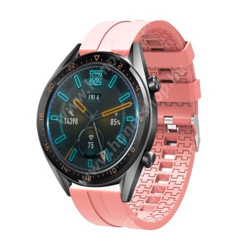 HUAWEI Watch GT 2e Okosóra szíj - környezetbarát szilikon - RÓZSASZÍN - 120 + 90mm hosszú, 22mm széles - SAMSUNG Galaxy Watch 46mm / SAMSUNG Gear S3 Classic / SAMSUNG Gear S3 Frontier