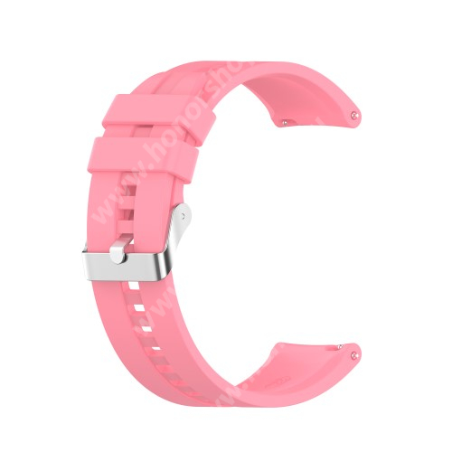 Okosóra szíj - környezetbarát szilikon - RÓZSASZÍN - 120mm+90mm hosszú, 22mm széles - SAMSUNG Galaxy Watch 46mm / Watch GT2 46mm / Watch GT 2e / Galaxy Watch3 45mm / Honor MagicWatch 2 46mm