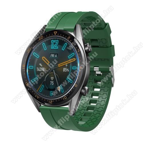 ZTE Watch GTOkosóra szíj - környezetbarát szilikon - SÖTÉTZÖLD - 120 + 90mm hosszú, 22mm széles - SAMSUNG Galaxy Watch 46mm / SAMSUNG Gear S3 Classic / SAMSUNG Gear S3 Frontier