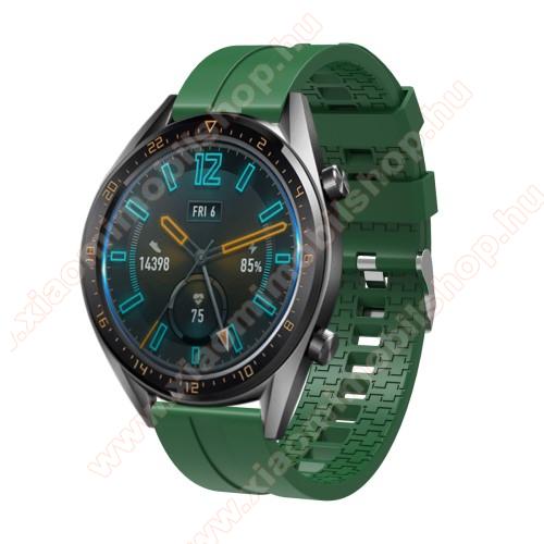 Okosóra szíj - környezetbarát szilikon - SÖTÉTZÖLD - 120 + 90mm hosszú, 22mm széles - SAMSUNG Galaxy Watch 46mm / SAMSUNG Gear S3 Classic / SAMSUNG Gear S3 Frontier