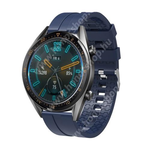 HUAWEI Honor MagicWatch 2 46mm Okosóra szíj - környezetbarát szilikon - SÖTÉTKÉK - 120 + 90mm hosszú, 22mm széles - SAMSUNG Galaxy Watch 46mm / SAMSUNG Gear S3 Classic / SAMSUNG Gear S3 Frontier