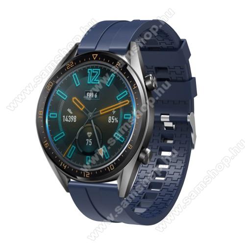 SAMSUNG SM-R770 Gear S3 ClassicOkosóra szíj - környezetbarát szilikon - SÖTÉTKÉK - 120 + 90mm hosszú, 22mm széles - SAMSUNG Galaxy Watch 46mm / SAMSUNG Gear S3 Classic / SAMSUNG Gear S3 Frontier