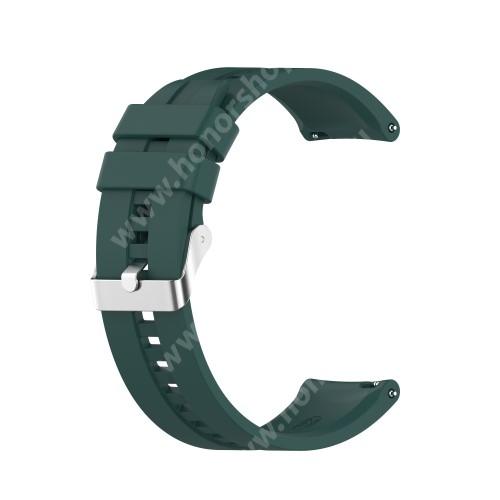 Okosóra szíj - környezetbarát szilikon - SÖTÉTZÖLD - 120mm+90mm hosszú, 22mm széles - SAMSUNG Galaxy Watch 46mm / Watch GT2 46mm / Watch GT 2e / Galaxy Watch3 45mm / Honor MagicWatch 2 46mm