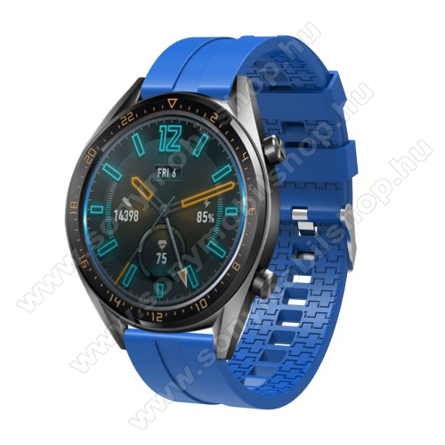 Okosóra szíj - környezetbarát szilikon - VILÁGOSKÉK - 120 + 90mm hosszú, 22mm széles - SAMSUNG Galaxy Watch 46mm / SAMSUNG Gear S3 Classic / SAMSUNG Gear S3 Frontier