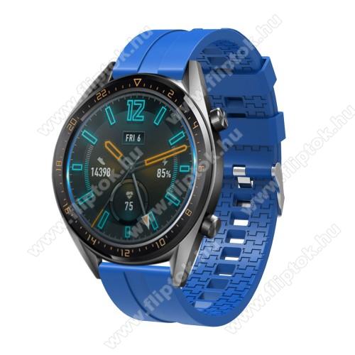 ZTE Watch GTOkosóra szíj - környezetbarát szilikon - VILÁGOSKÉK - 120 + 90mm hosszú, 22mm széles - SAMSUNG Galaxy Watch 46mm / SAMSUNG Gear S3 Classic / SAMSUNG Gear S3 Frontier