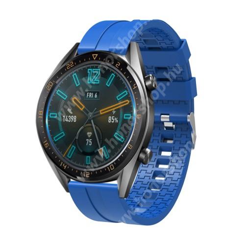 HUAWEI Honor MagicWatch 2 46mm Okosóra szíj - környezetbarát szilikon - VILÁGOSKÉK - 120 + 90mm hosszú, 22mm széles - SAMSUNG Galaxy Watch 46mm / SAMSUNG Gear S3 Classic / SAMSUNG Gear S3 Frontier