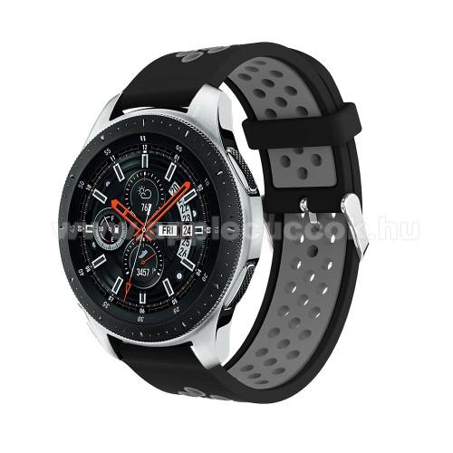 Okos�ra sz�j - l�g�tereszt?, sportol�shoz, szilikon, max 205mm-es csukl�ra - FEKETE / SZ�RKE - SAMSUNG Galaxy Watch 46mm / SAMSUNG Gear S3 Classic / SAMSUNG Gear S3 Frontier