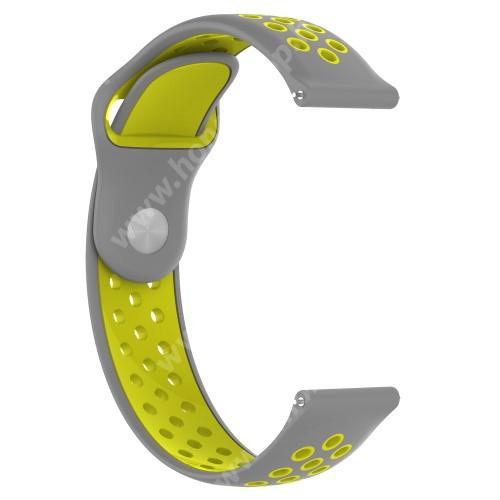 HUAWEI Watch 2 Pro Okosóra szíj - légáteresztő, sportoláshoz, 133 + 97.5mm hosszú, 22mm széles - SZÜRKE / CITROMSÁRGA - Xiaomi Amazfit / Xiaomi Amazfit 2 / Fossil Q MARSHAL Gen2