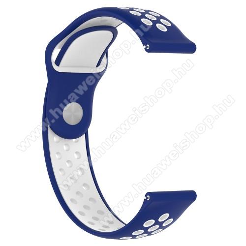HUAWEI Watch 2 ProOkosóra szíj - légáteresztő, sportoláshoz, 133 + 97.5mm hosszú, 22mm széles - FEHÉR / KÉK - Xiaomi Amazfit / Xiaomi Amazfit 2 / Fossil Q MARSHAL Gen2