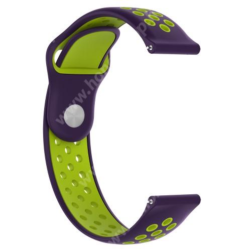 HUAWEI Watch 2 Pro Okosóra szíj - légáteresztő, sportoláshoz, 133 + 97.5mm hosszú, 22mm széles - LILA / ZÖLD - Xiaomi Amazfit / Xiaomi Amazfit 2 / Fossil Q MARSHAL Gen2