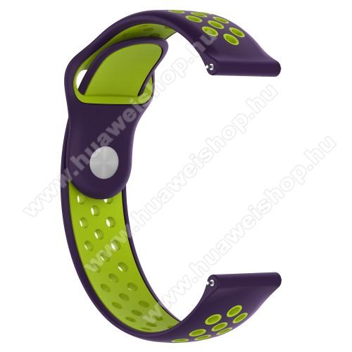 HUAWEI Watch 2 ProOkosóra szíj - légáteresztő, sportoláshoz, 133 + 97.5mm hosszú, 22mm széles - LILA / ZÖLD - Xiaomi Amazfit / Xiaomi Amazfit 2 / Fossil Q MARSHAL Gen2