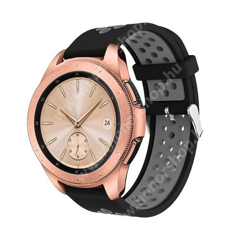 Okosóra szíj - légáteresztő, sportoláshoz, szilikon, max 205mm-es csuklóra, 20mm széles - SZÜRKE / FEKETE - SAMSUNG Galaxy Watch 42mm / Xiaomi Amazfit GTS / SAMSUNG Gear S2 / HUAWEI Watch GT 2 42mm / Galaxy Watch Active / Active 2