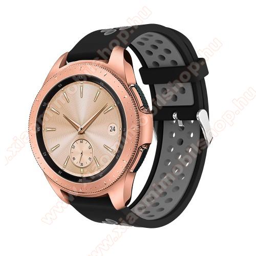 Xiaomi Amazfit BIP LiteOkosóra szíj - légáteresztő, sportoláshoz, szilikon, max 205mm-es csuklóra, 20mm széles - SZÜRKE / FEKETE - SAMSUNG Galaxy Watch 42mm / Xiaomi Amazfit GTS / SAMSUNG Gear S2 / HUAWEI Watch GT 2 42mm / Galaxy Watch Active / Active 2