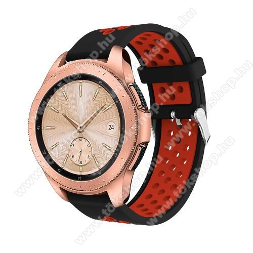 vivo Watch 42mmOkosóra szíj - légáteresztő, sportoláshoz, szilikon, max 205mm-es csuklóra, 20mm széles - PIROS / FEKETE - SAMSUNG Galaxy Watch 42mm / Xiaomi Amazfit GTS / SAMSUNG Gear S2 / HUAWEI Watch GT 2 42mm / Galaxy Watch Active / Active 2