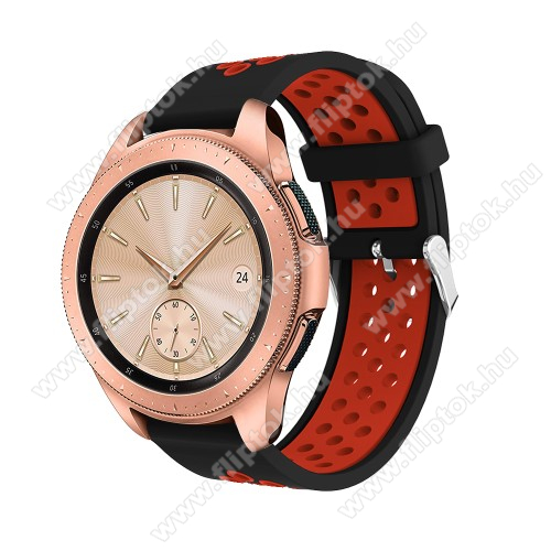 EVOLVEO SPORTWATCH M1SOkosóra szíj - légáteresztő, sportoláshoz, szilikon, max 205mm-es csuklóra, 20mm széles - PIROS / FEKETE - SAMSUNG Galaxy Watch 42mm / Xiaomi Amazfit GTS / SAMSUNG Gear S2 / HUAWEI Watch GT 2 42mm / Galaxy Watch Active / Active 2