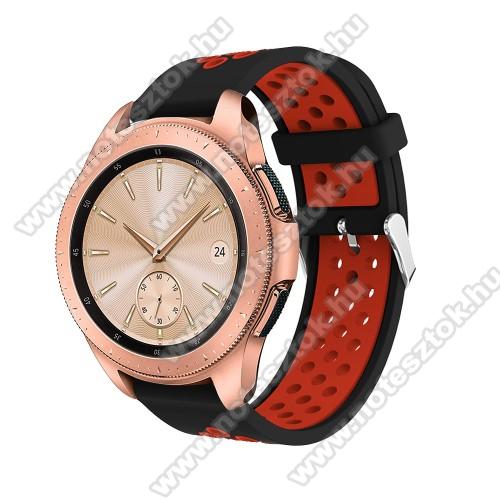 WOTCHI SmartWatch W22SOkosóra szíj - légáteresztő, sportoláshoz, szilikon, max 205mm-es csuklóra, 20mm széles - PIROS / FEKETE - SAMSUNG Galaxy Watch 42mm / Xiaomi Amazfit GTS / SAMSUNG Gear S2 / HUAWEI Watch GT 2 42mm / Galaxy Watch Active / Active 2