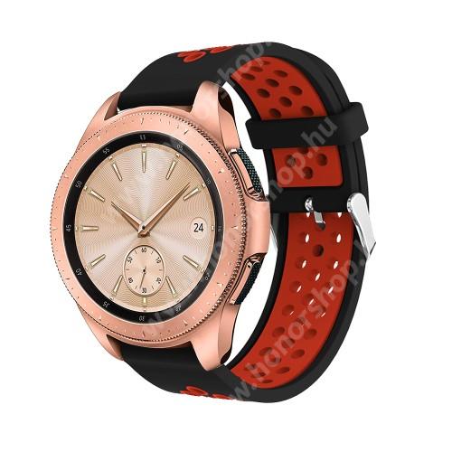 HUAWEI Honor MagicWatch 2 42mm Okosóra szíj - légáteresztő, sportoláshoz, szilikon, max 205mm-es csuklóra, 20mm széles - PIROS / FEKETE - SAMSUNG Galaxy Watch 42mm / Xiaomi Amazfit GTS / SAMSUNG Gear S2 / HUAWEI Watch GT 2 42mm / Galaxy Watch Active / Active 2