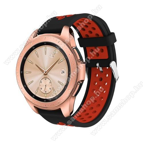 SAMSUNG Galaxy Watch Active2 44mmOkosóra szíj - légáteresztő, sportoláshoz, szilikon, max 205mm-es csuklóra, 20mm széles - PIROS / FEKETE - SAMSUNG Galaxy Watch 42mm / Xiaomi Amazfit GTS / SAMSUNG Gear S2 / HUAWEI Watch GT 2 42mm / Galaxy Watch Active / Active 2