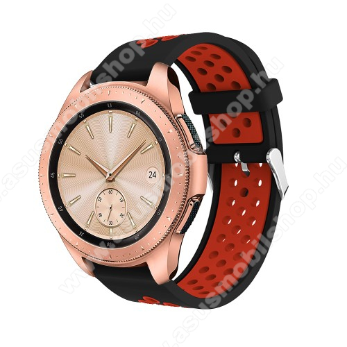 Okosóra szíj - légáteresztő, sportoláshoz, szilikon, max 205mm-es csuklóra, 20mm széles - PIROS / FEKETE - SAMSUNG Galaxy Watch 42mm / Xiaomi Amazfit GTS / SAMSUNG Gear S2 / HUAWEI Watch GT 2 42mm / Galaxy Watch Active / Active 2