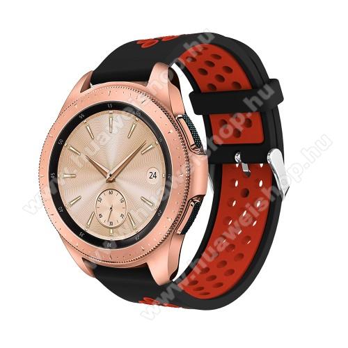 HUAWEI Honor MagicWatch 2 42mmOkosóra szíj - légáteresztő, sportoláshoz, szilikon, max 205mm-es csuklóra, 20mm széles - PIROS / FEKETE - SAMSUNG Galaxy Watch 42mm / Xiaomi Amazfit GTS / SAMSUNG Gear S2 / HUAWEI Watch GT 2 42mm / Galaxy Watch Active / Active 2