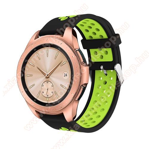 Huami Amazfit Youth Edition LiteOkosóra szíj - légáteresztő, sportoláshoz, szilikon, max 205mm-es csuklóra, 20mm széles - ZÖLD / FEKETE - SAMSUNG Galaxy Watch 42mm / Xiaomi Amazfit GTS / SAMSUNG Gear S2 / HUAWEI Watch GT 2 42mm / Galaxy Watch Active / Active 2